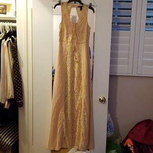 Nwt forever 21peach chiffon lace maxi dress w/tie
